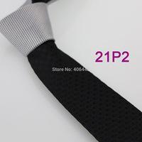 YIBEI Coachella ties SKINNY Tie New Arrival Silver Knot Contrast Black Plaids Checks Woven Microfiber Narrow Necktie SLIM Tie
