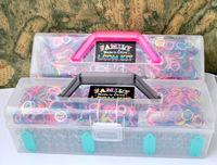 Rubber loom band portable kits including ( 1800 pcs Mixed color bands +3 loom +3 pcs hook +72clips ) free shipping