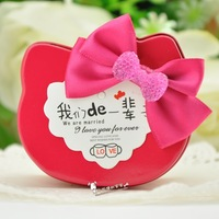 colorful handmade 20pcs lot   6.8*5.6*3.5cm hello cat bowknot  Wedding Candy Bags with card  Lots iron  gift box  free shipping