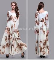 New Dress Long Sleeve Muslim Elegant Woman floor length  dress Leaf Printed Long Sleeved Floor length dress plus size XXL DRESS