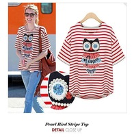 Summer new cotton short sleeve stripe loose nail bead female owl free shipping
