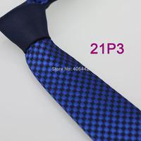 YIBEI Coachella ties SKINNY Tie New Arrival Navy Knot Contrast Royal Blue Plaids Checks Woven Microfiber Narrow Necktie SLIM Tie