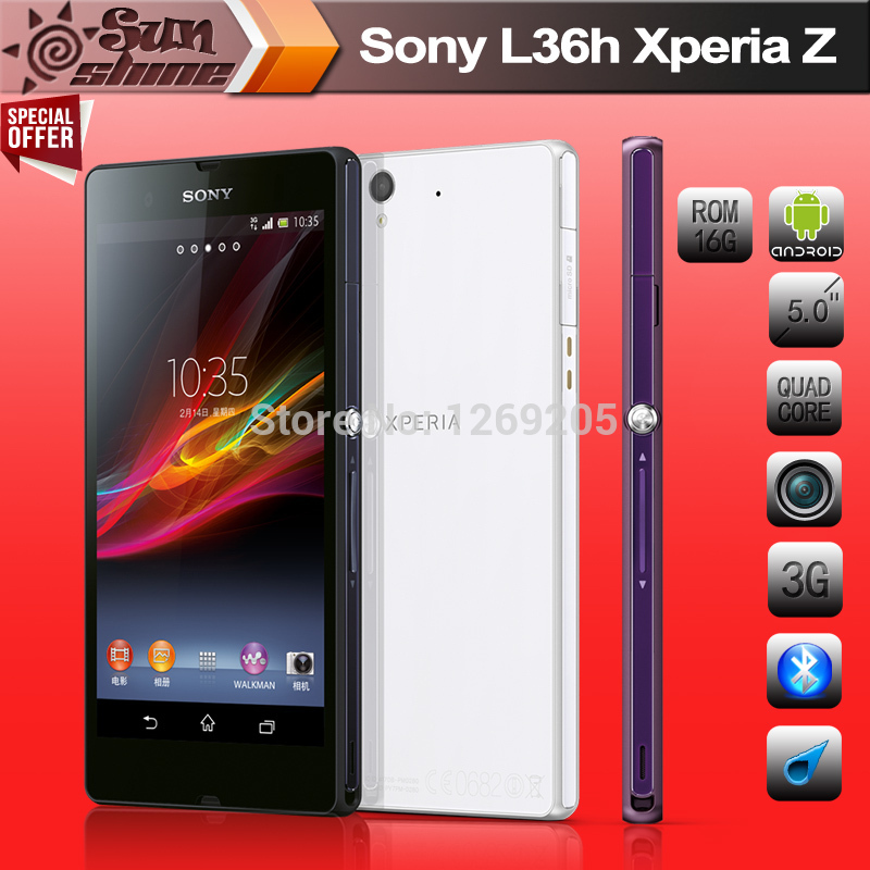 Unlocked Original Sony Xperia Z L36H Mobile phone 5 inch TFT Qualcomm Quad core 2GB/16GB Refurbished Phone 13.1MP GPS NFC HSPA(China (Mainland))