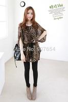 2014 Spring and Summer Waist Straps Flying Squirrel Loose Bat Sleeve Leopard Chiffon Dress Shirt Women T-shirt