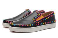 New arrivals unisex black sheepskin flats casual fashion lovers brand shoes men women rivets sneaker loafers wholesale US0953