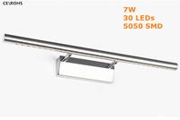 7W LED Wall Lamp Restroom Mirror Light AC85-265V Stainless Steel Cool white Warm white 30 LEDs Led Wall Light For Home Modern