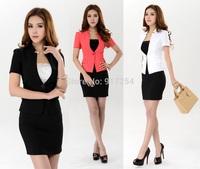 New Plus Size Candy Color 2014 Fashion Summer Professional Business Women Work Wear Skirt Suits Uniform Clothing Set S-3XL