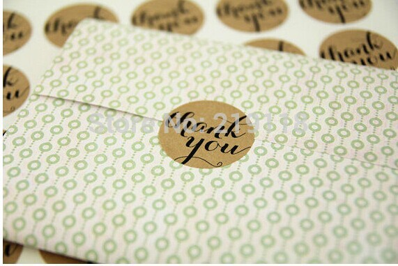 Free shipping promotion round circle shape Brown Kraft Thank You Sticker 3.8cm 300pcs,envelope/wedding favors/invitations seal(China (Mainland))