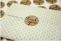 Free shipping promotion round circle shape Brown Kraft Thank You Sticker 3.8cm 300pcs,envelope/wedding favors/invitations seal
