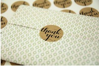 Free shipping promotion round circle shape Brown Kraft Thank You Sticker 3.8cm 300pcs,envelope/wedding favors/invitations seal
