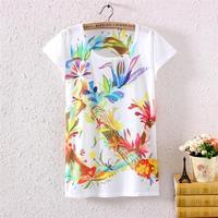 Free Shipping hot 2014 Newest Style 3D Printed Tee Women's T-shirt Round Collar Summer Big Size women T Shirt