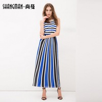 2014 new summer A-line dress europe style women's fashion patchwork stripe sleeveless dress one-piece dress