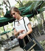 2014 new European Style Big Hit Color Range of Modern Retro Black and White Chiffon Shirt Short-sleeved T-shirt