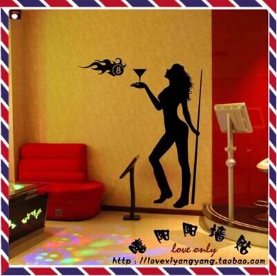 free shipping 170*85cm Sexy KTV Bar Billiard hall pool hall salon Internet cafes glass window wall stickers home decors(China (Mainland))