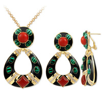 Exostic Necklace & Earrings  Enamel and Viscose Jewelry Set  Fashion Vintage Jewelry for Women  Anniversary Party Birthday Gift