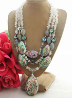 Excellent! Moonstone&Paua Abalone Shell&labradorite Necklace +free shippment