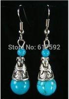 BEAUTIFUL TIBETAN SILVER TURQUOISE EARRINGS & ALWAYS A GIFT ADDED