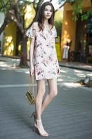 2014 Free shipping 100% silk   dress Women's   Top  Dress  summer  dress flower dress AL-139