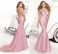 af-73 New Elegant Sexy Beads Bow Mermaid See Through Short Sleeve Backless Long Tarik Ediz Evening Dress Oarty Dresses 2014