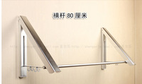 Free Shipping! Wall Mounted Bathroom Foldable Clothesline Hanger Dual Sides Hanger With Hooks