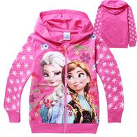 2-10Y Frozen Children Outerwear Cartoon Cotton Baby Clothing Mosaic Zipper Coat Children Hoodies Brand Kids Jackets For Girls