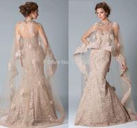 qn-64 New Elegant Beads Appliques Crystal Mermaid Sweetheart Off Shoulder Long Wrap Zuhair Murad Lace Wedding Dress China 2014