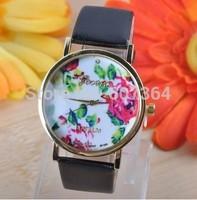 2014 New Fashion Leather GENEVA Rose Flower Watch Women Dress stylish Quartz Wristwatch+14 colors 20pcs/lot