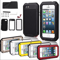 For iPhone 5 5G EXTREME Dropproof Dirtproof Aluminum Case for iPhone 5S Metal Waterproof Cover with Glass screen protector