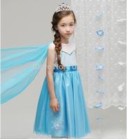 Wholesale new summer girl dress, baby forzen Blue Cloak dress,kids party Lace Dress 5pcs/lot free shipping MK-23