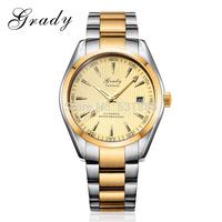 2014 New fashion men military watch gold plated casual watch men mechanical watch
