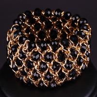 New Arrival Fashion 18 K Gold Plated Chain Handmade Circumvolute Glass Beads Bracelet for women Ni/ Pb Free (Mini order is $15)