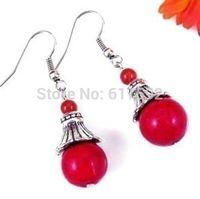new Beautiful Tibet Tibetan Silver Red Jade Earrings & always a gift added