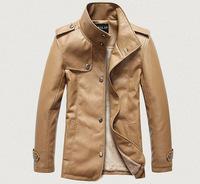 2014 Men Brand Leather Jackets Faux Leather XXXL Fashion Warm Outerwear Shoulder Epaulet Motorcycle Jacket Free Shipping