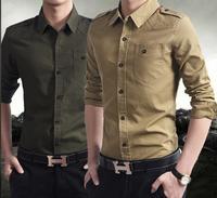 2014 Brand New Men's European Vintage Shirt Military Styled Army Green Khaki Shirts XXXL Slim Fit Skinny Styled Free Ship