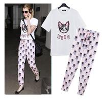 2014 summer women's cat short-sleeve T-shirt fox elastic waist slim harem pants casual set