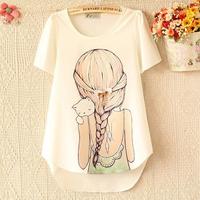 2014 summer women's short-sleeve chiffon shirt female t-shirt plus size clothing print white top