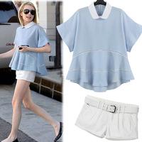 2014 summer fashion plus size clothing peter pan casual t-shirt white shorts set