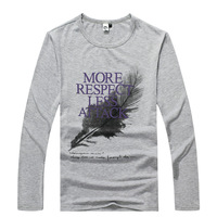 NEW  autumn male Feather print  long-sleeve basic shirt  men's clothing t-shirt  Y0386