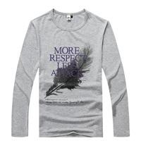 NEW  autumn male Feather print  long-sleeve basic shirt  men's clothing t-shirt  Y0386