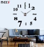 Acrylic+EVR+Metal Mirror Super Big Personalized Digital Clocks Home Decor Freeshipping new 2014 Big DIY Wall Clock