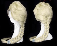 movie Frozen Elsa Custom Wig Cosplay Snow Queen Anime with hairpins Lady's Wig no lace Kanekalon Fiber Hair wigs Free Shipping