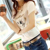 2014 summer 100% female cotton short-sleeve t-shirt slim short-sleeve top plus size clothing white t shirt