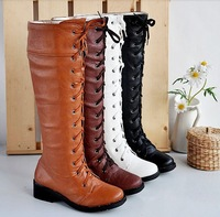 Free shipping 2014new cosplay High boots vintage black and white high lacing martin boots Can be customized plus-size