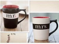 Free shipping Mr&Mrs classic ceramic couple mugs ,300ml coffee cups, lovers mug birthday gift
