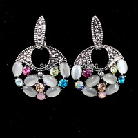 2014 new fashion hot selling vintage jewelry round colorful stellux austrian crystals retro earrings for Women