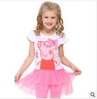 Hot Sale 2014 new peppg pig  Dress Summer Dress For Girl Hot Princess Dresses Brand Girls Dress Children Clothing Kids Wear A06
