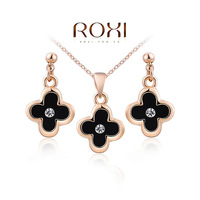 ROXI Gift Fashion Crytal Flower Snow zirconSet Gift Girlfriend 100% Hand made Fashion Jewelry Earrings+Necklace