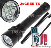 10set Diving Flashlight 30W 3X CREE XML t6 4000 Lumen LED Torch Underwater Waterproof LED Flash Light+2*4000MAH battery+charger