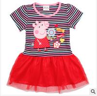 Hot Sale 2014 new peppg pig  Dress Summer Dress For Girl Hot Princess Dresses Brand Girls Dress Children Clothing Kids Wear A01
