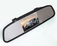 Free shipping 4.3 Inch TFT LCD Car Rearview Mirror Monitor 2 Video Input + 4 Parking Sensor  Waterproof Reverse Rear view Camera